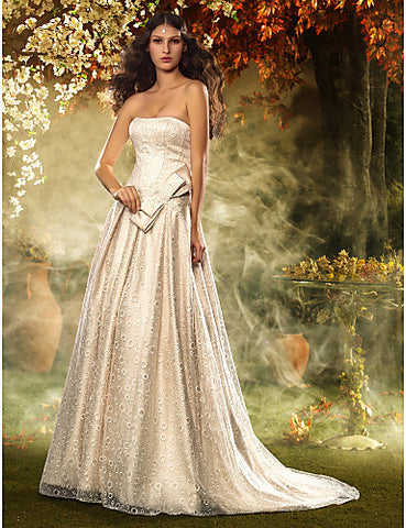 A-line/Princess Strapless Sweep/Brush Train Satin And Lace Wedding Dress