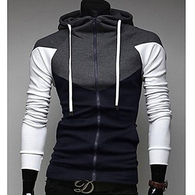 Men's Slim Stitching Hooded Sweatshirt