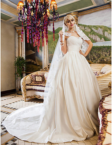 Wedding Dress Ball Gown Court Train Ruched Satin and Lace Queen Anne Neckline With Bow