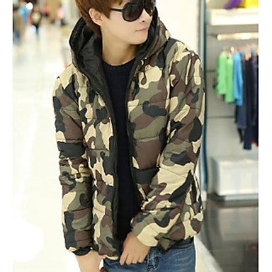 Men's Stand Camouflage Slim Coat
