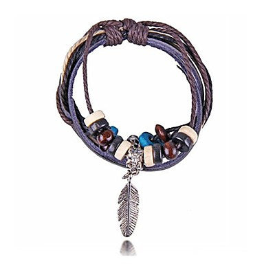 Metal Feathers Wood Beads Leather Bracelets(Hualuo Jewelry)