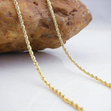 18K Gold Plated Twist Chain Copper Necklace 70cm