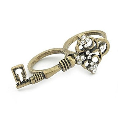 Fashion Retro Rhinestone Double Rings Random Color