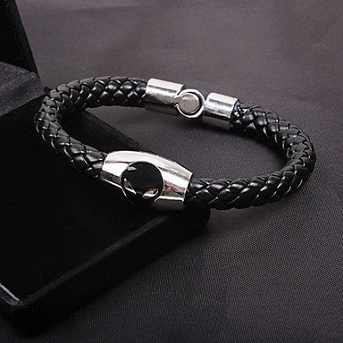 Fashion Boutique Men Cat Eyes Snake Twine Black Alloy Leather Chain&Link Bracelet(1 Pc)