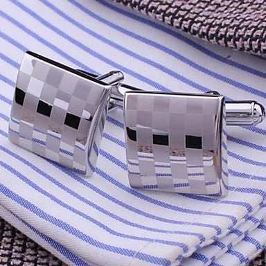 Fashionable 1.5cm Men's Silver Copper Cufflink (Silver)(1pair)