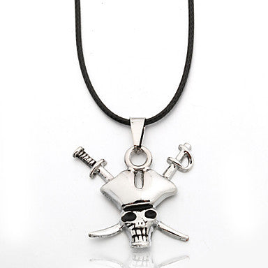Men's Zinc Alloy Pirate Black Rope Necklace Pendant