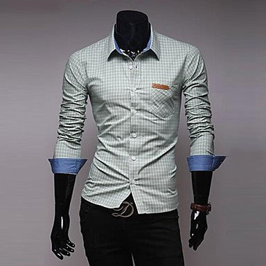 Men's Exquisite Plaid Long-sleeved Shirt