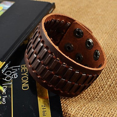 Fashion Men's Brown Herringbone Wide Leather Bracelets