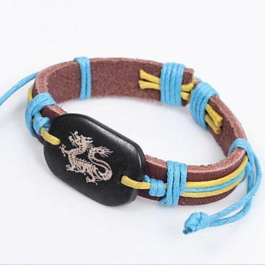 Ethnic Dragon 25cm Unisex Multicolor Leather ID Bracelet(Multicolor)(1 Pc)