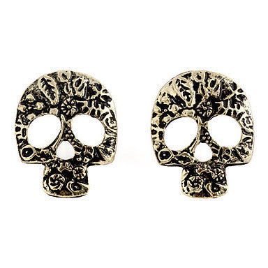 Gothic Pierced Skull Bronze Alloy Stud Earrings (1 Pair)