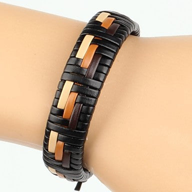 High Fashion Men's Leather Braided Bracelet Beige Orange Brown Color (1 Piece)