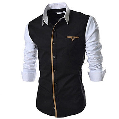 Men's Fashion Splicing Long Sleeve Casual Shirts
