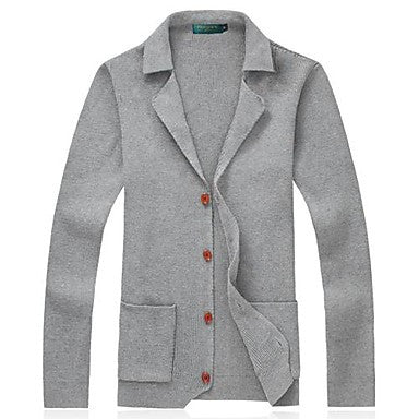 Men's Big Yards Lapel Cardigan Sweater