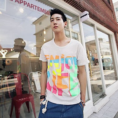 Men's Round Collar Colorful Printing Short Sleeve T-Shirt