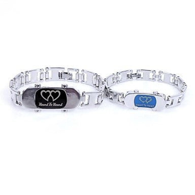 European Love 20cm Titanium Steel Tennis Bracelet(Silver)(2 Pc)