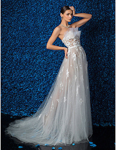 A-line Strapless Chiffon Court Train Wedding Dresses