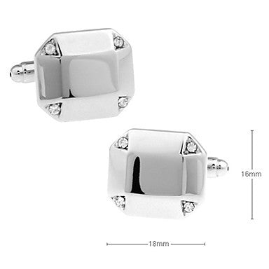 Men's Silver Square Cufflinks(2 PCS)