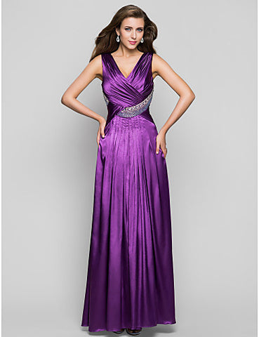 A-line V-neck Floor-length Charmeuse Evening/Prom Dress