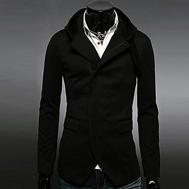 Men¡¯s Fashion Casual Hooded Long Sleeve Overcoat
