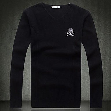 Men's Wear Long Sleeved V Neck Knitting A Sweater