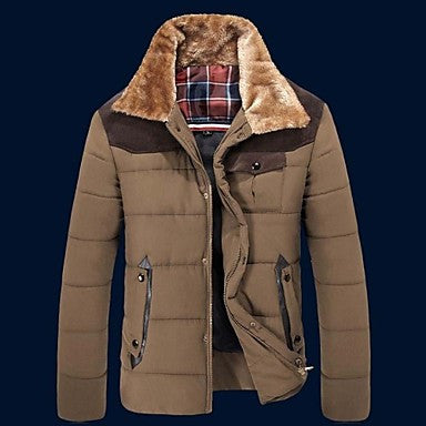 Men's Casual Long Sleeve Cotton Padded Down Coat