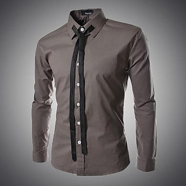 Men's Slim Casual Check Long Sleeved Pure Shirt