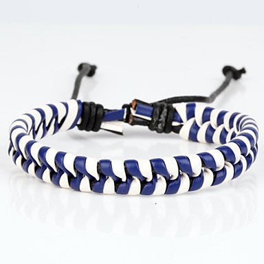 Comfortable Adjustable Men's Leather Cool Hard Bracelet Dark Blue And White Braided Leather(1 Piece)