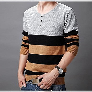 Men's V Neck Long Sleeve Striped Casual Sweaters