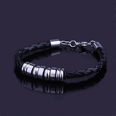 Men's Fashion Personality Titanium Steel Cowhide Woven Bracelets