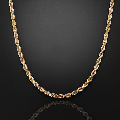 60cm,8mm,18K Gold Plated Thick Chunky Figaro Chain Men's Swirl Chain Necklace,Lobster Clasp
