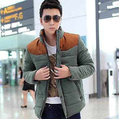 Men's Stand Collar Basic Long Sleeve Cotton-Padded Jacket