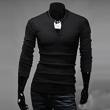 Men's Personality V Neck Long Sleeve T-Shirt