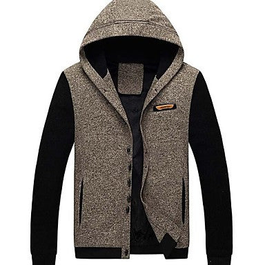 Men's Casual Fashion Slim Fit Long Sleeved Hooded Jacket Coat