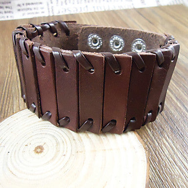Vintage 23.5Cm Men's Brown Leather Bracelet(Brown)(1 Pc)