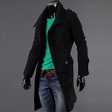 Men's Autumn And Winter Badges Long Double Breasted Coat Jacket.