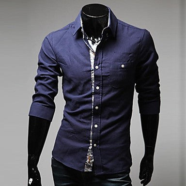 Men's Slim Casual Contrast Color Shirt