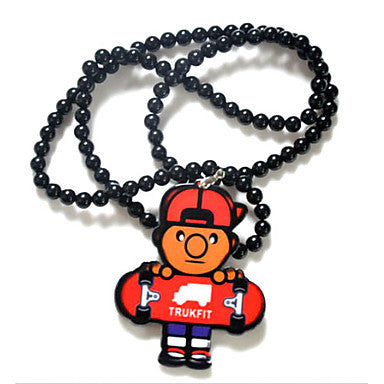 Fashion Hip Hop TRUKFIT Man Hug Scooter Pendant Black Acrylic Pendant Necklace(1 Pc)