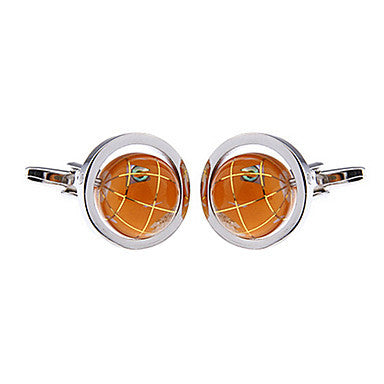 Men's Orange Globe Round Cufflinks(2 PCS)