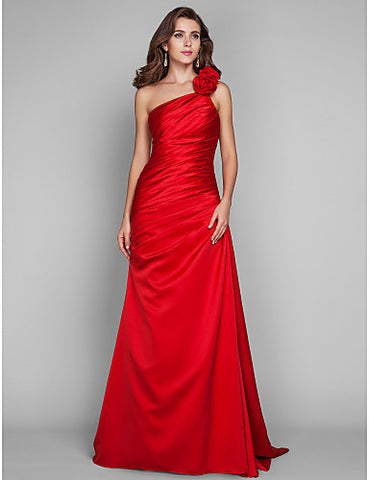 Sheath/Column One Shoulder Floor-length Satin Evening/Prom Dress