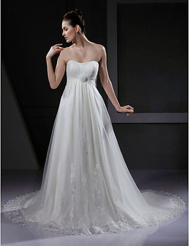 Wedding Dress A Line Court Train Lace Tulle Sweetheart Strapless With Flower and Beading