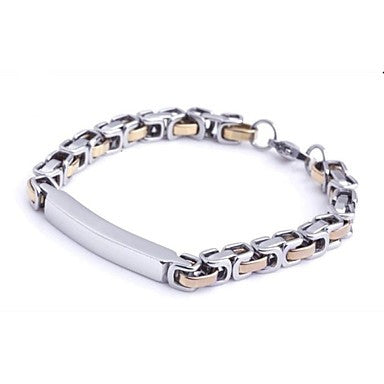 Men's Fashion Personality Gold Titanium Steel Square Bracelets