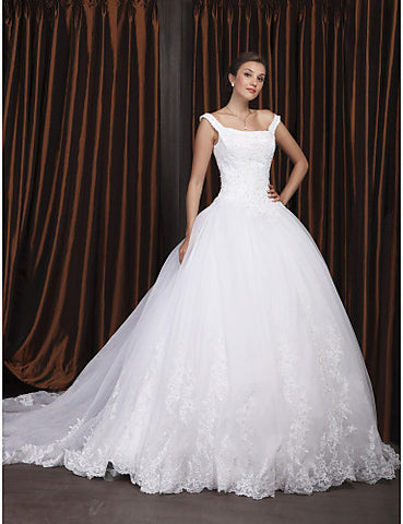 Wedding Dress Ball Gown Chapel Train Organza Off the Shoulder With Beading Appliques