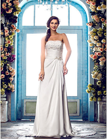Sheath/Column Strapless Sweep/Brush Trainsatin Chiffon Wedding Dress (612403)