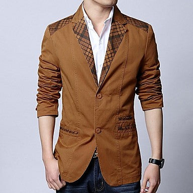 HUACAI Men's Leisure Plaid Collar Suit