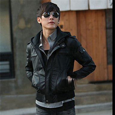 Men's Detachable Hoodie PU Leather Biker Jacket