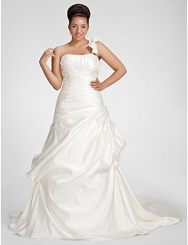 A-line One Shoulder Chapel Train Satin Plus Size Wedding Dress