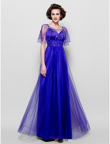 A-line Jewel Floor-length Tulle Mother of the Bride Dress