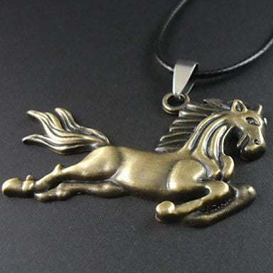 Men's Running Horse Leather Pendant Necklace