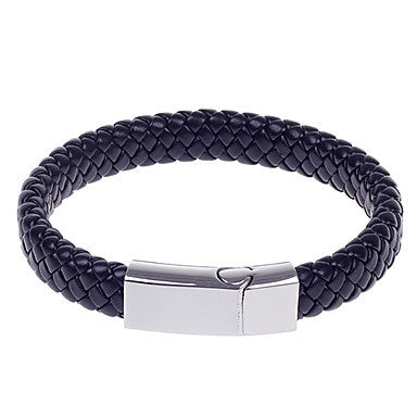L011 Fashionable Simple PU Leather Titanium Steel Men's Woven Bracelet - Black + Silver