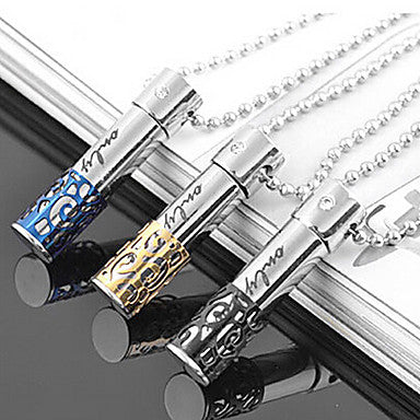 Fashion Columnar Perfume Bottle Titanium Steel Pendants(More Color) (1 Pc)